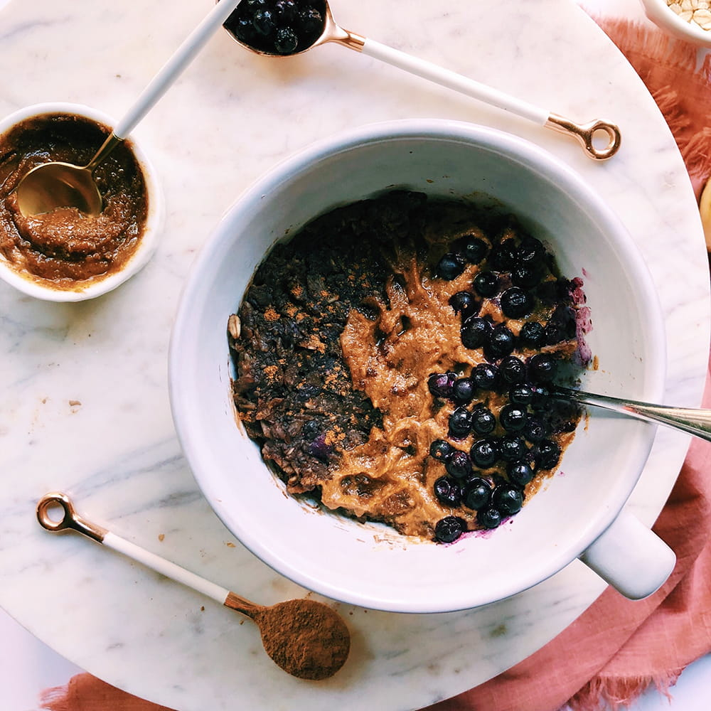Instant Blueberry Cacao Oat Bake